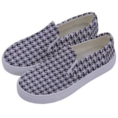 Luv Machine Robot Houndstooth Pattern (grey) Kids  Canvas Slip Ons by emilyzragz