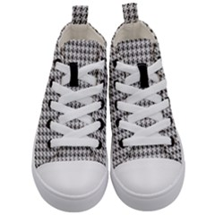 Luv Machine Robot Houndstooth Pattern (grey) Kid s Mid Top Canvas Sneakers