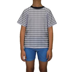Luv Machine Robot Houndstooth Pattern Grey Kids  Short Sleeve Swimwear by emilyzragz