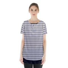 Luv Machine Robot Houndstooth Pattern Grey Skirt Hem Sports Top by emilyzragz