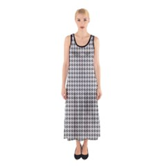 Luv Machine Robot Houndstooth Pattern (grey) Sleeveless Maxi Dress