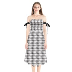 Luv Machine Robot Houndstooth Pattern (grey) Shoulder Tie Bardot Midi Dress