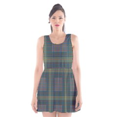 Plaid Pencil Crayon Pattern Scoop Neck Skater Dress