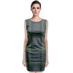 Plaid Pencil Crayon Pattern Classic Sleeveless Midi Dress
