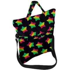 Ombre Glitter Pink Green Star Pat Fold Over Handle Tote Bag