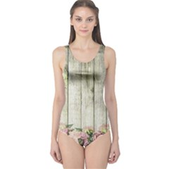 Floral Wood Wall One Piece Swimsuit