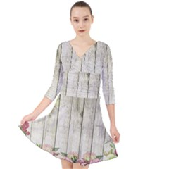Floral Wood Wall Quarter Sleeve Front Wrap Dress