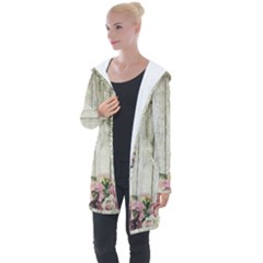 Floral Wood Wall Longline Hooded Cardigan
