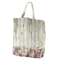 Floral Wood Wall Giant Grocery Tote