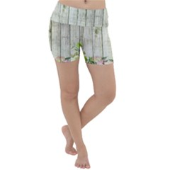 Floral Wood Wall Lightweight Velour Yoga Shorts
