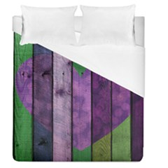 Wood Wall Heart Purple Green Duvet Cover (queen Size) by snowwhitegirl