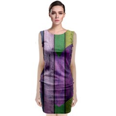 Wood Wall Heart Purple Green Classic Sleeveless Midi Dress