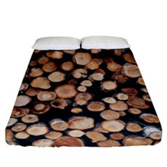 Wood Stick Piles Fitted Sheet (california King Size)