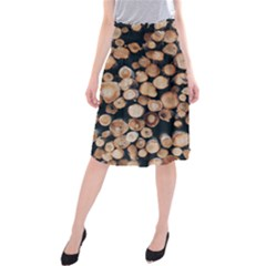 Wood Stick Piles Midi Beach Skirt