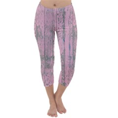 Old Pink Wood Wall Capri Winter Leggings