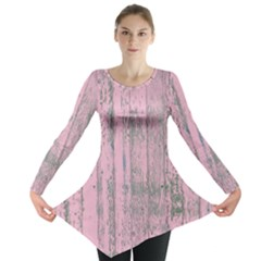 Old Pink Wood Wall Long Sleeve Tunic