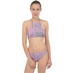 Old Pink Wood Wall Racer Front Bikini Set