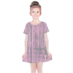 Old Pink Wood Wall Kids  Simple Cotton Dress