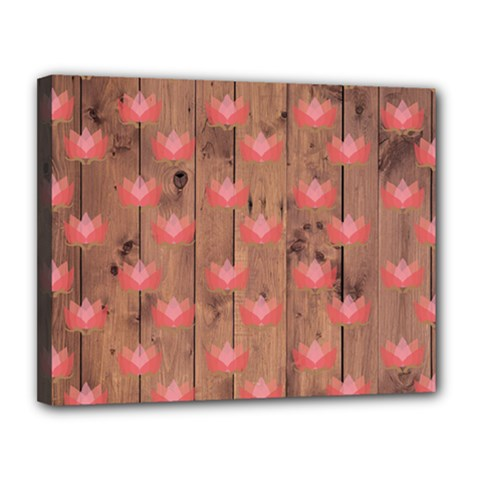 Zen Lotus Wood Wall Canvas 14  X 11  (stretched)