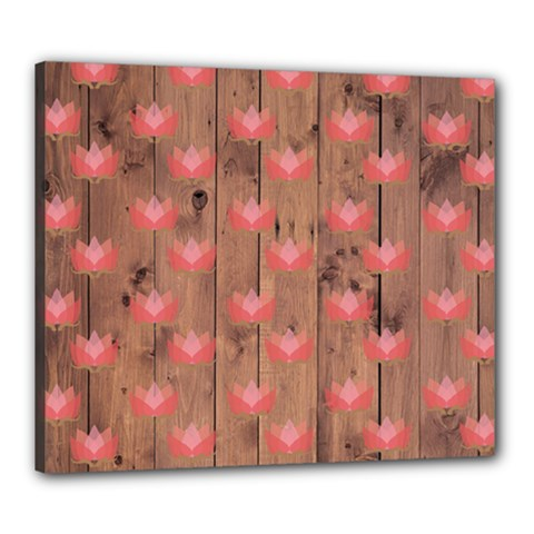 Zen Lotus Wood Wall Canvas 24  X 20  (stretched)