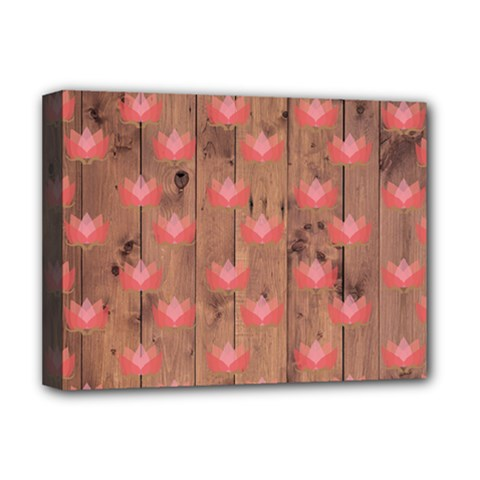 Zen Lotus Wood Wall Deluxe Canvas 16  X 12  (stretched)