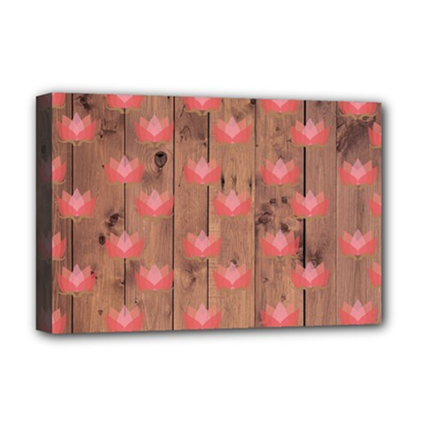 Zen Lotus Wood Wall Deluxe Canvas 18  X 12  (stretched)