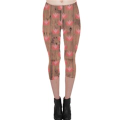 Zen Lotus Wood Wall Capri Leggings