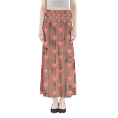 Zen Lotus Wood Wall Full Length Maxi Skirt