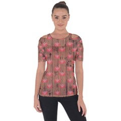 Zen Lotus Wood Wall Shoulder Cut Out Short Sleeve Top