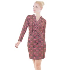 Zen Lotus Wood Wall Button Long Sleeve Dress