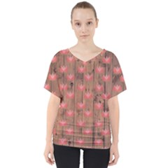 Zen Lotus Wood Wall V Neck Dolman Drape Top