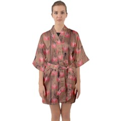 Zen Lotus Wood Wall Quarter Sleeve Kimono Robe
