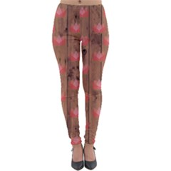 Zen Lotus Wood Wall Lightweight Velour Leggings