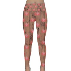 Zen Lotus Wood Wall Lightweight Velour Classic Yoga Leggings