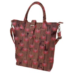 Zen Lotus Wood Wall Buckle Top Tote Bag