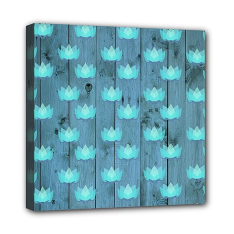 Zen Lotus Wood Wall Blue Mini Canvas 8  X 8  (stretched)