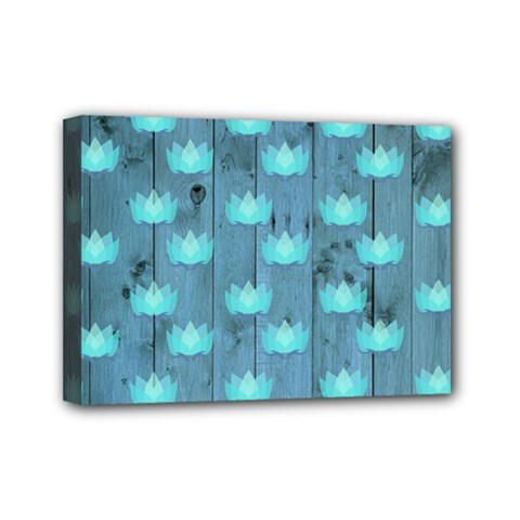 Zen Lotus Wood Wall Blue Mini Canvas 7  X 5  (stretched)