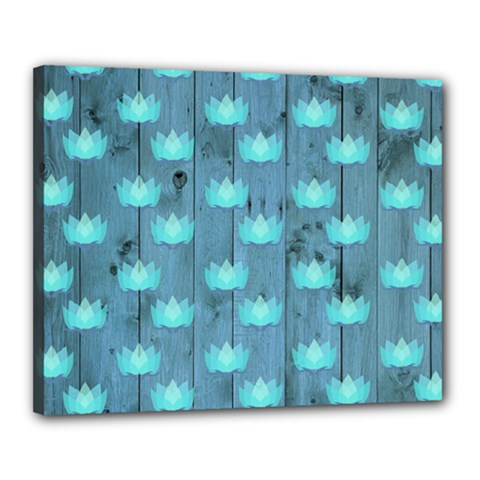 Zen Lotus Wood Wall Blue Canvas 20  X 16  (stretched)