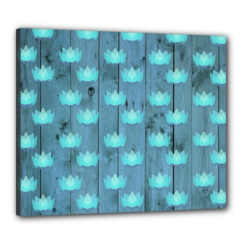 Zen Lotus Wood Wall Blue Canvas 24  X 20  (stretched)
