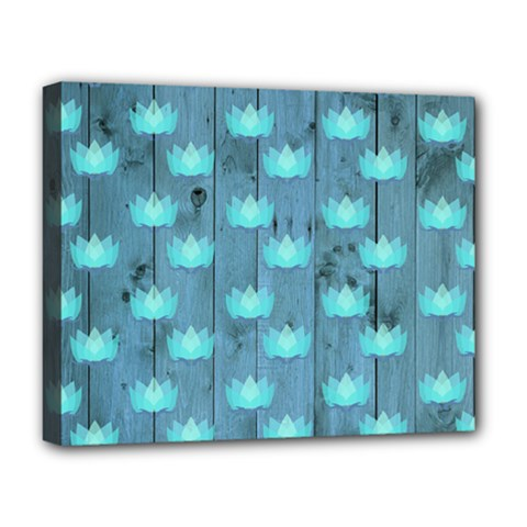 Zen Lotus Wood Wall Blue Deluxe Canvas 20  X 16  (stretched)