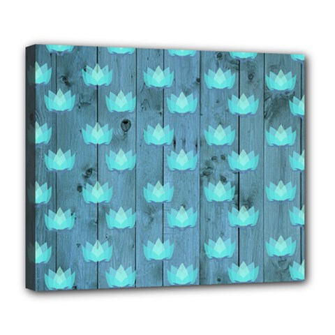 Zen Lotus Wood Wall Blue Deluxe Canvas 24  X 20  (stretched)