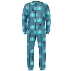 Zen Lotus Wood Wall Blue Onepiece Jumpsuit (men)