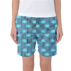Zen Lotus Wood Wall Blue Women s Basketball Shorts