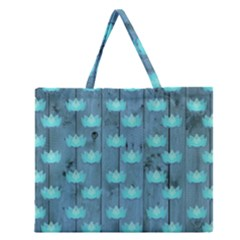 Zen Lotus Wood Wall Blue Zipper Large Tote Bag