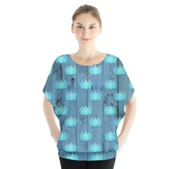 Zen Lotus Wood Wall Blue Batwing Chiffon Blouse
