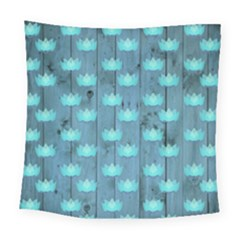 Zen Lotus Wood Wall Blue Square Tapestry (large)
