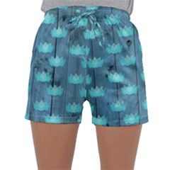Zen Lotus Wood Wall Blue Sleepwear Shorts