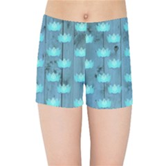 Zen Lotus Wood Wall Blue Kids Sports Shorts