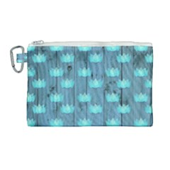 Zen Lotus Wood Wall Blue Canvas Cosmetic Bag (large)