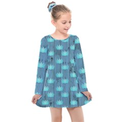 Zen Lotus Wood Wall Blue Kids  Long Sleeve Dress